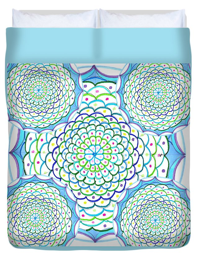Mandala Duvet Cover featuring the drawing Listen And Take Action II by Signe Beatrice