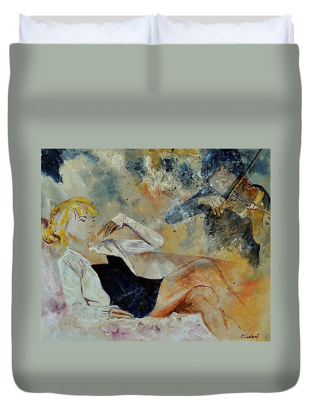 Misic Duvet Cover featuring the painting Listening To The Violin by Pol Ledent