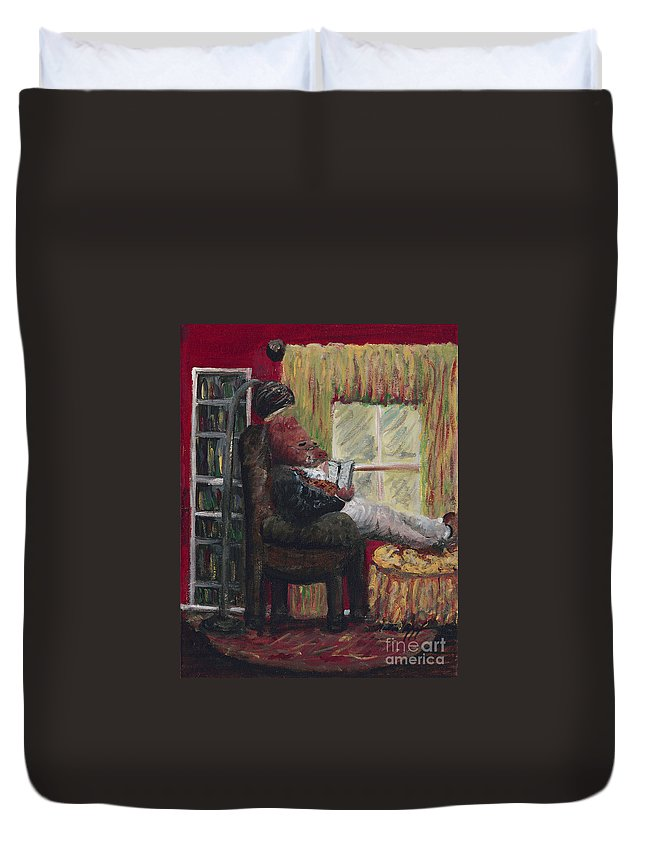 Hog Duvet Cover featuring the painting Literary Escape by Nadine Rippelmeyer