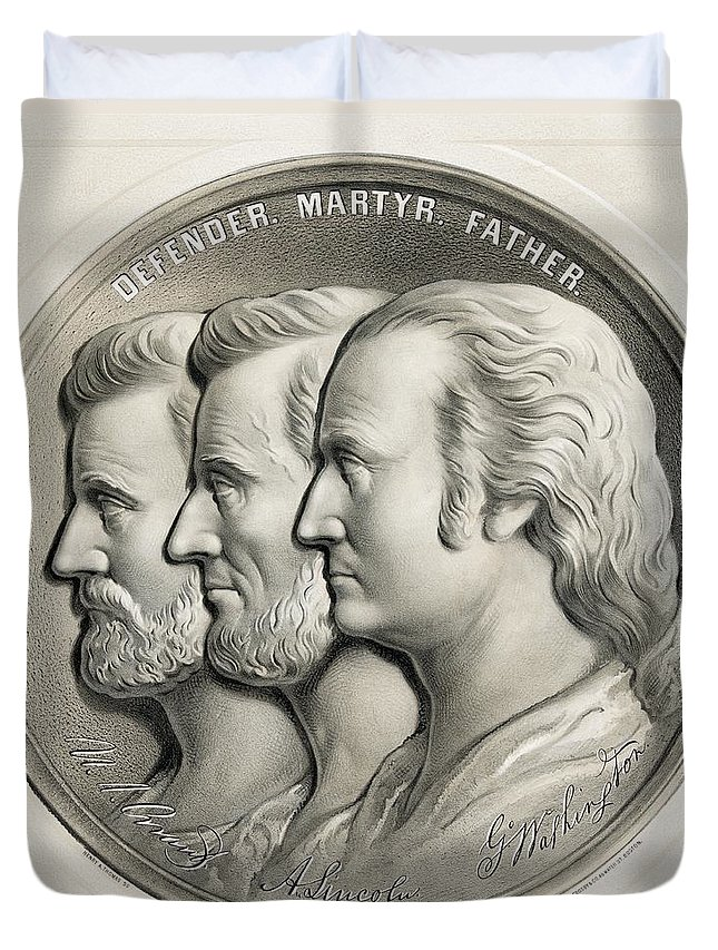 Ulysses S. Grant Duvet Cover featuring the drawing Lithograph From 1870 Of Medallion by Vintage Design Pics