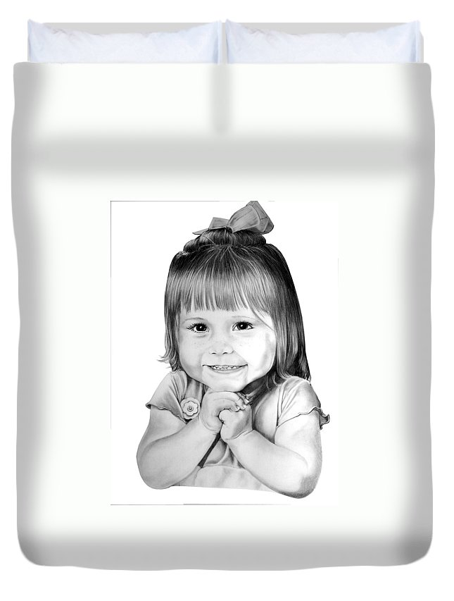 Child Duvet Cover featuring the drawing Little Bailey by Murphy Elliott