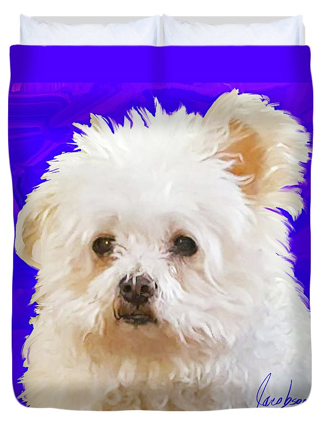 Little Bear Is Listening With One Ear Up . What A Fun Mixed Breed Painting This Is. I Loved All That Fluffy White Fur And Those Focused Eyes. How Can You Not Fall In Love With Little Bear. Duvet Cover featuring the painting Little Bear by Jackie Jacobson