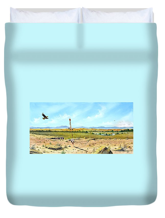 Landscape Duvet Cover featuring the painting Little Bighorn by Don Griffiths