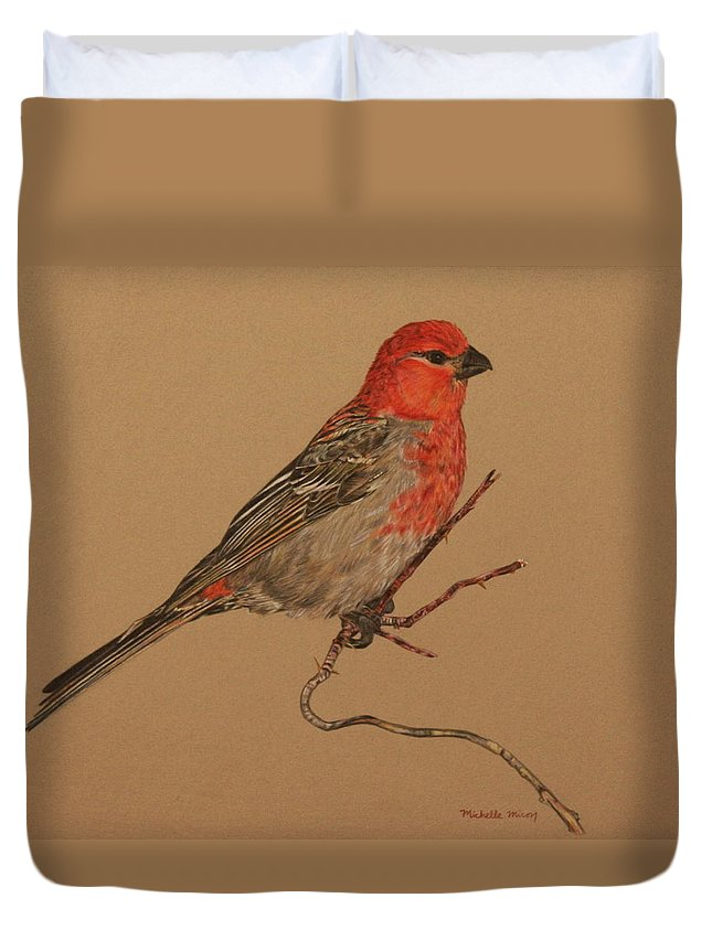Bird Duvet Cover featuring the drawing Little Bird by Michelle Miron-Rebbe