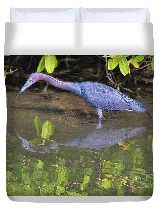 Heron Duvet Cover featuring the painting Little Blue Fishing by Deborah Benoit