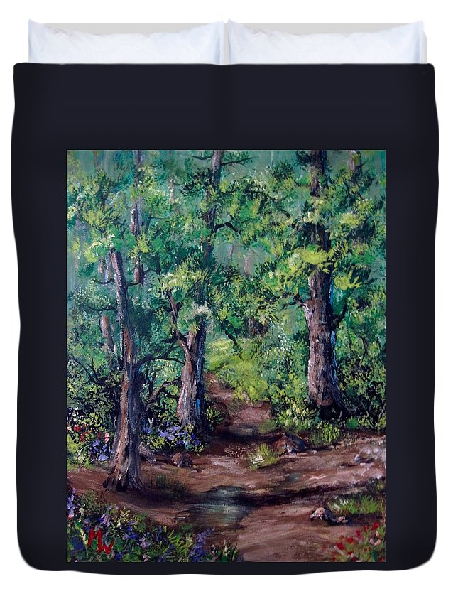 Forests Duvet Cover featuring the painting Little Clearing by Megan Walsh