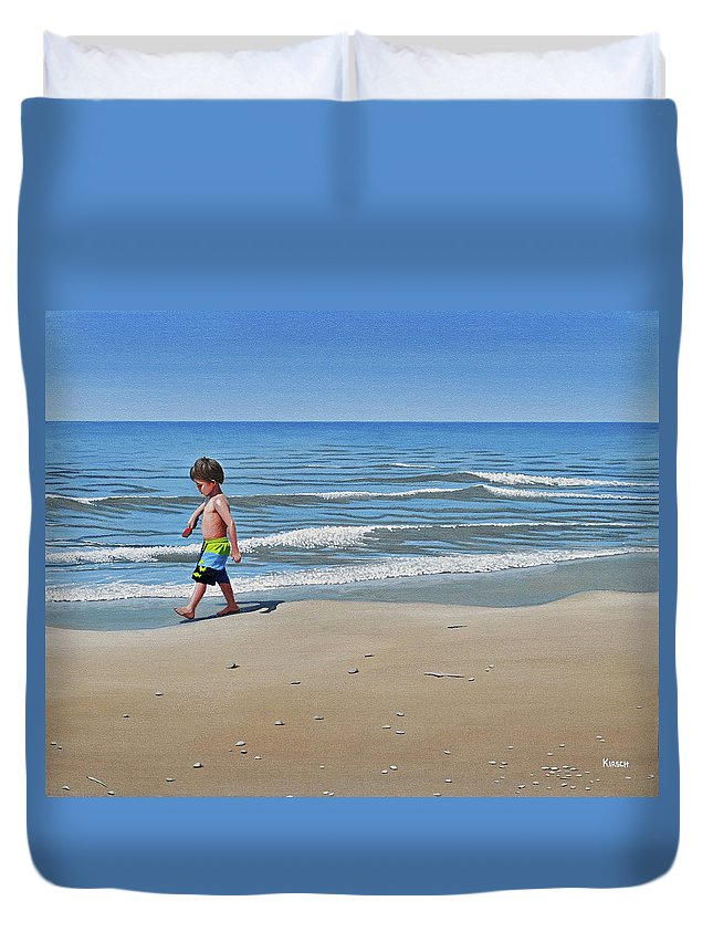 Beach Duvet Cover featuring the painting Little Explorer by Kenneth M Kirsch