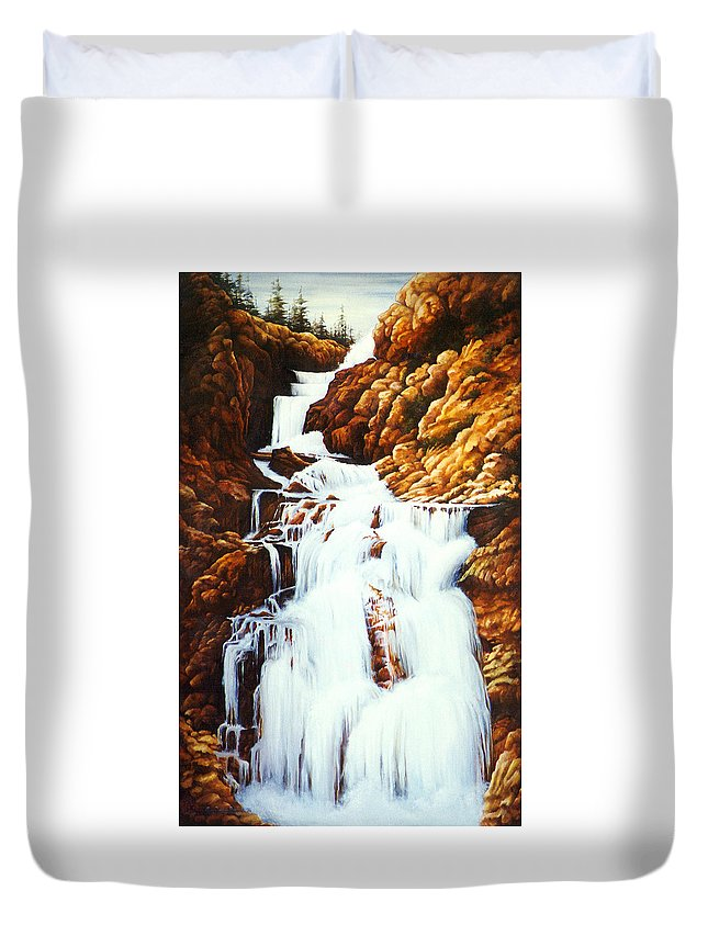 Waterfall Duvet Cover featuring the painting Little Firehole Falls by Teri Rosario