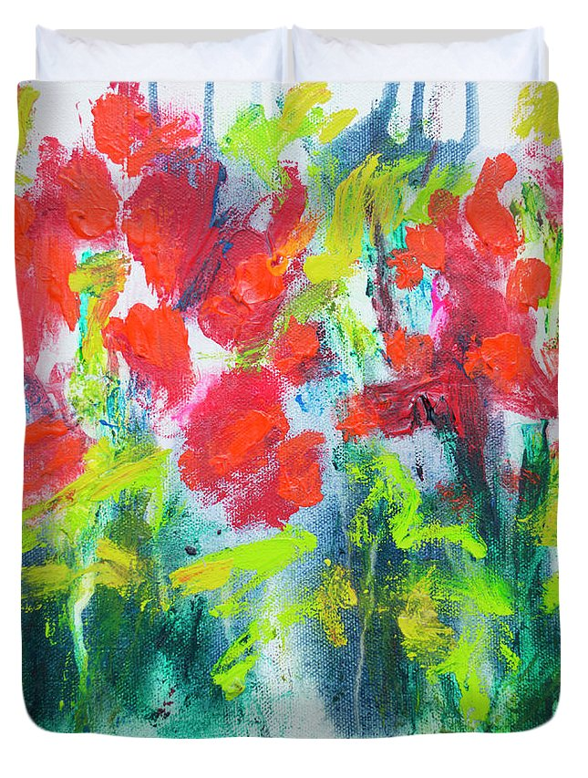 Abstract Duvet Cover featuring the painting Little Garden 01 by Claire Desjardins