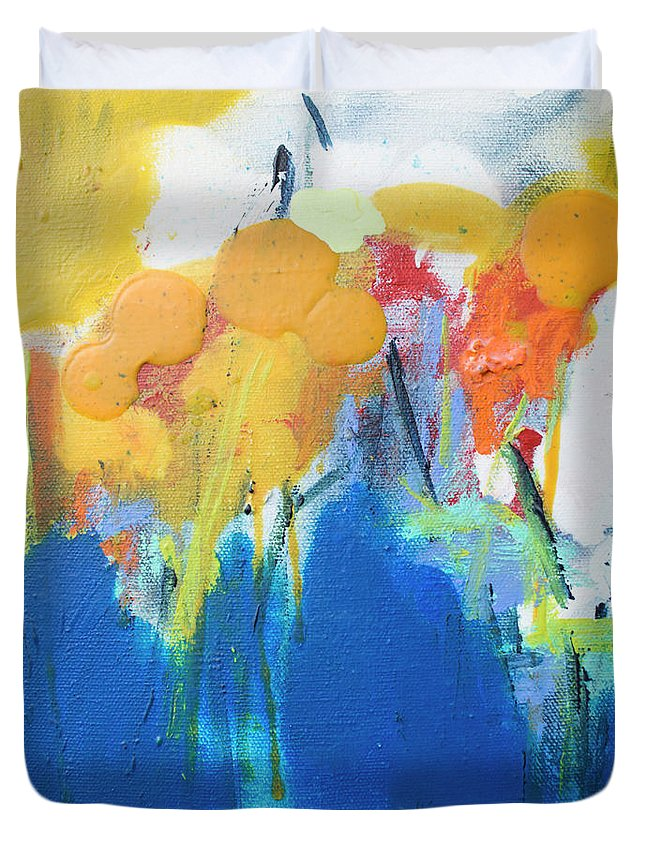 Abstract Duvet Cover featuring the painting Little Garden 02 by Claire Desjardins