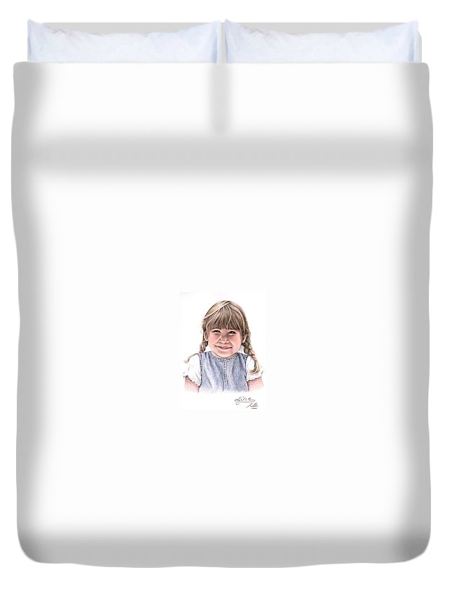 Girl Duvet Cover featuring the drawing Little Girl by Nicole Zeug