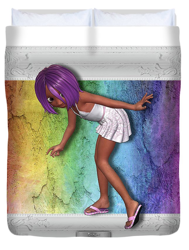 Girl Duvet Cover featuring the digital art Little Girl Sneaks Out Of Frame by Maria Astedt