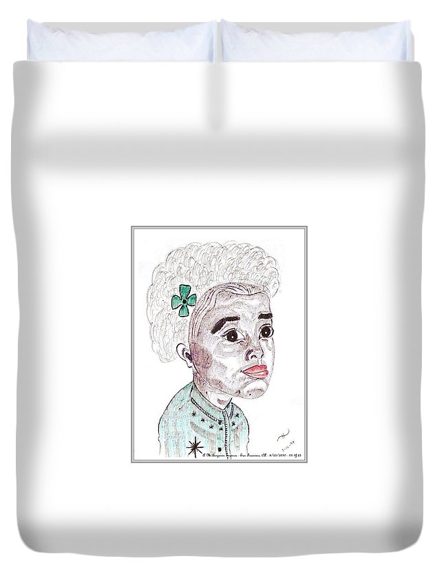 Young Black Girl Duvet Cover featuring the drawing Little Girl With A Green Bow by Anthony Benjamin