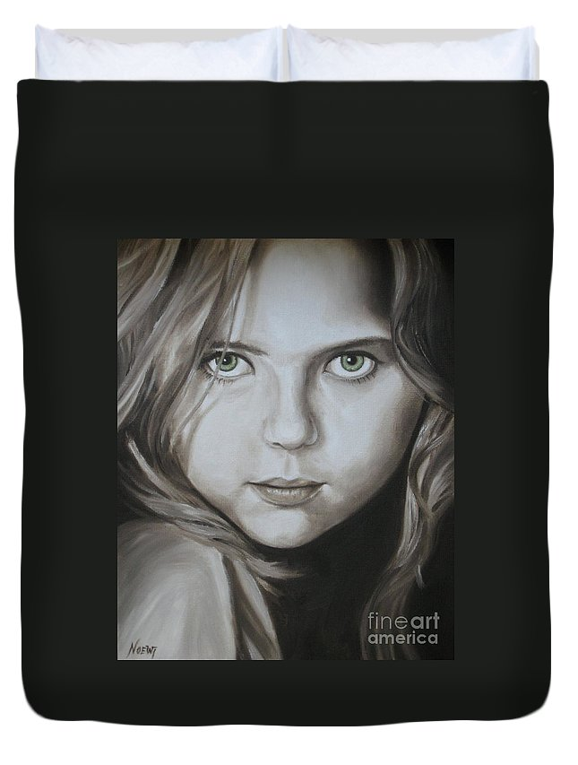 Portrait Duvet Cover featuring the painting Little Girl With Green Eyes by Jindra Noewi