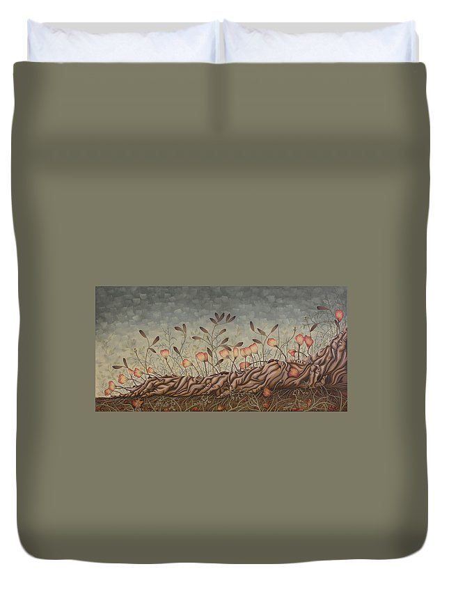 Sex Duvet Cover featuring the painting Little Gods by Judy Henninger