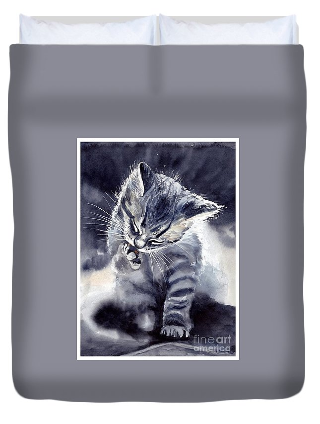 Little Duvet Cover featuring the painting Little Grey Cat by Suzann Sines