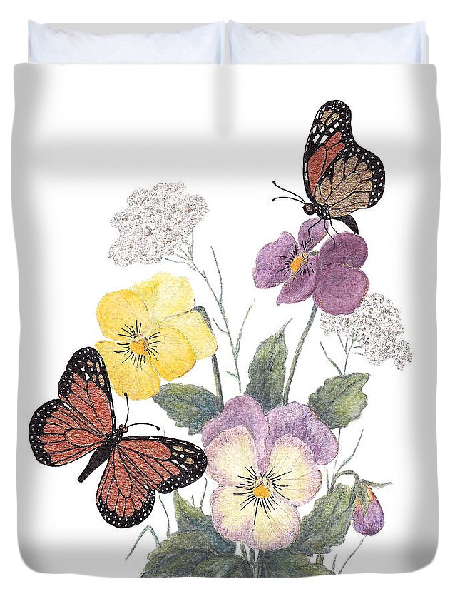 Pansies Duvet Cover featuring the painting Little Heartsease by Stanza Widen