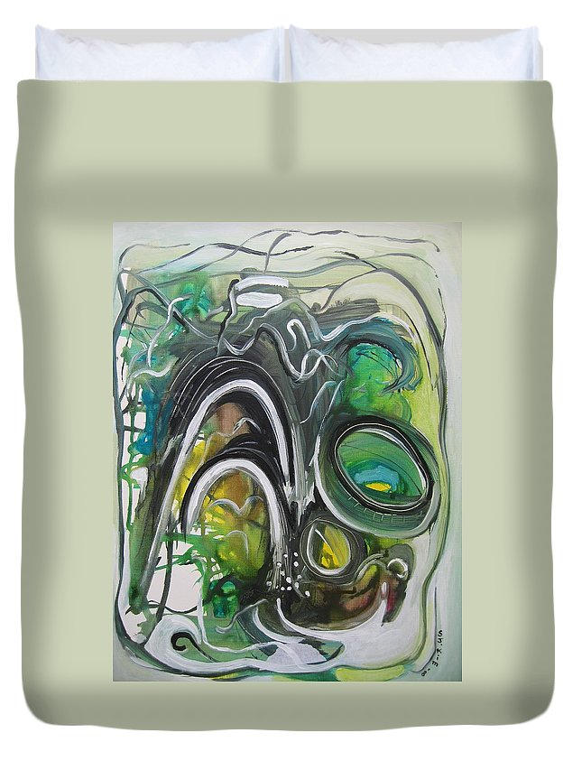 Abstract Paintings Duvet Cover featuring the painting little impression on Alexander trail by Seon-Jeong Kim
