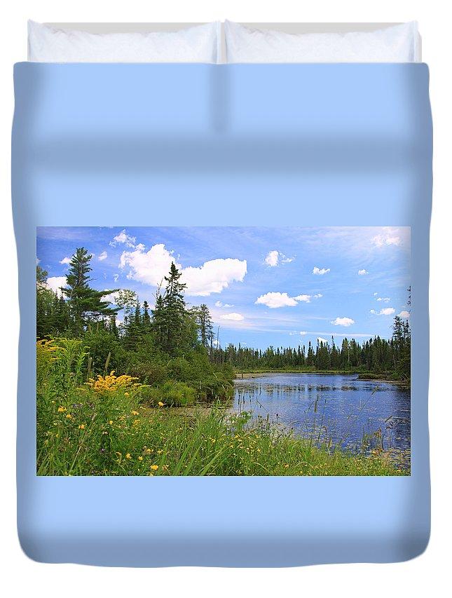 Lake Water Park Nature Canoeing Kayaking Blue Boundary Waters Minnesota Duvet Cover featuring the photograph Little Iron Lake by Shari Jardina