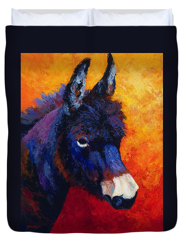 Burro Duvet Cover featuring the painting Little Jack - Burro by Marion Rose