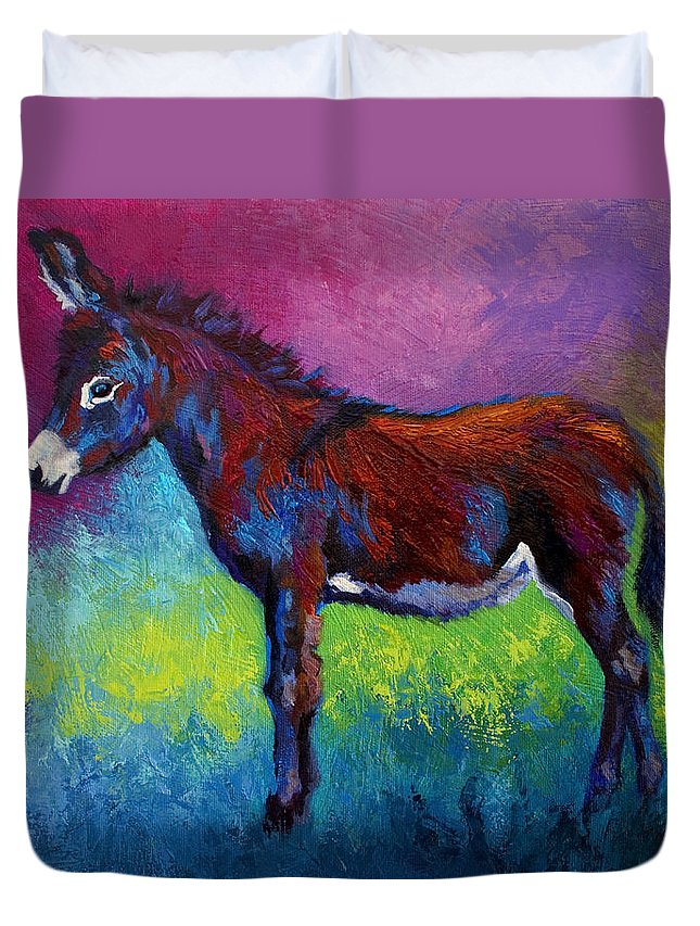 Burro Duvet Cover featuring the painting Little Jenny by Marion Rose