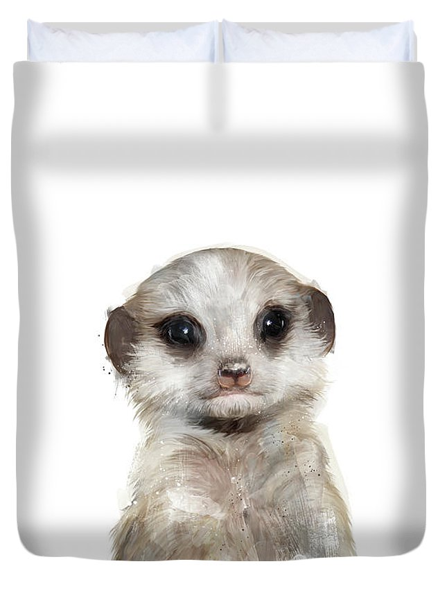 Meerkat Duvet Cover featuring the painting Little Meerkat by Amy Hamilton