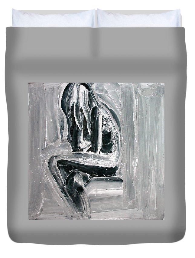 Beautiful Duvet Cover featuring the painting Little Mermaid by Jarmo Korhonen aka Jarko