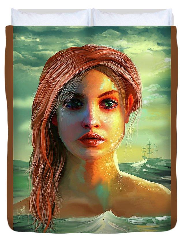 Fanart Duvet Cover featuring the digital art Little Mermaid by Jason Longstreet