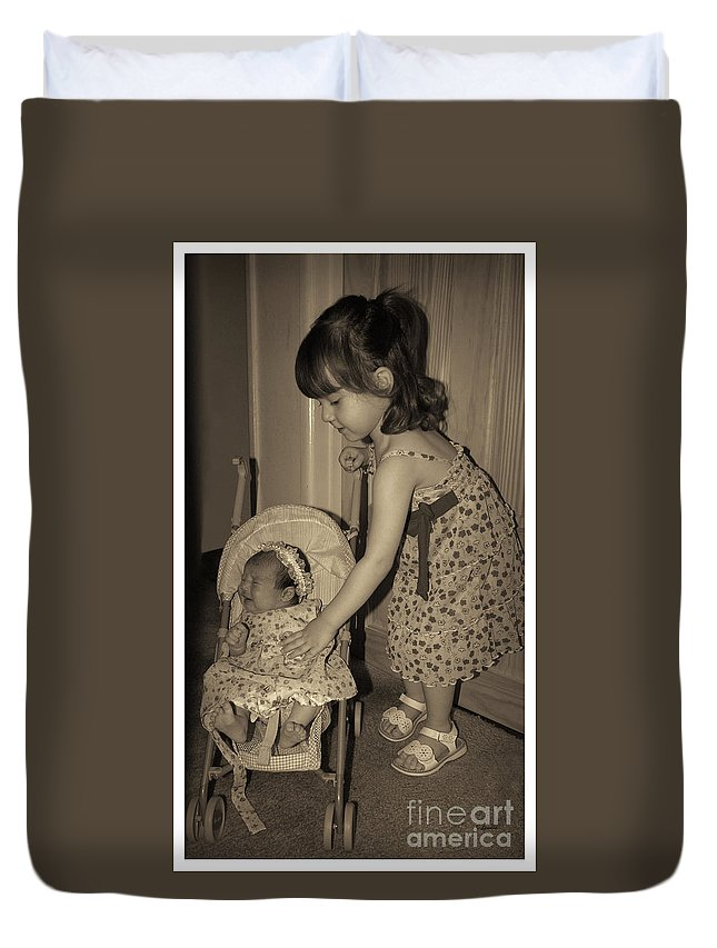 Sisters Duvet Cover featuring the photograph Little Mommy by Claudia Ellis