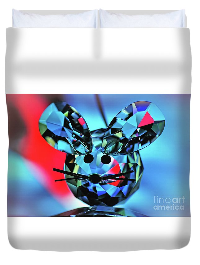 Photography Duvet Cover featuring the photograph Little Mouse - Lead Crystal by Kaye Menner