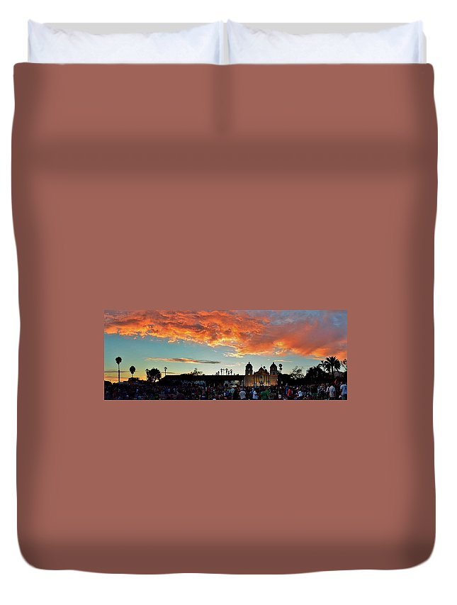 Sunset Duvet Cover featuring the photograph Little Party At The Mission by John Pierpont