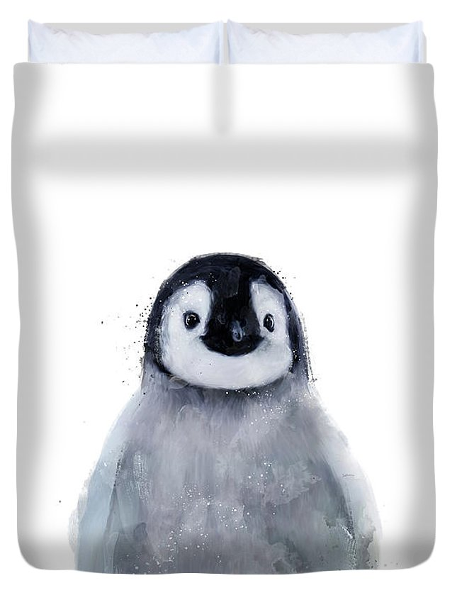 Penguin Duvet Cover featuring the mixed media Little Penguin by Amy Hamilton