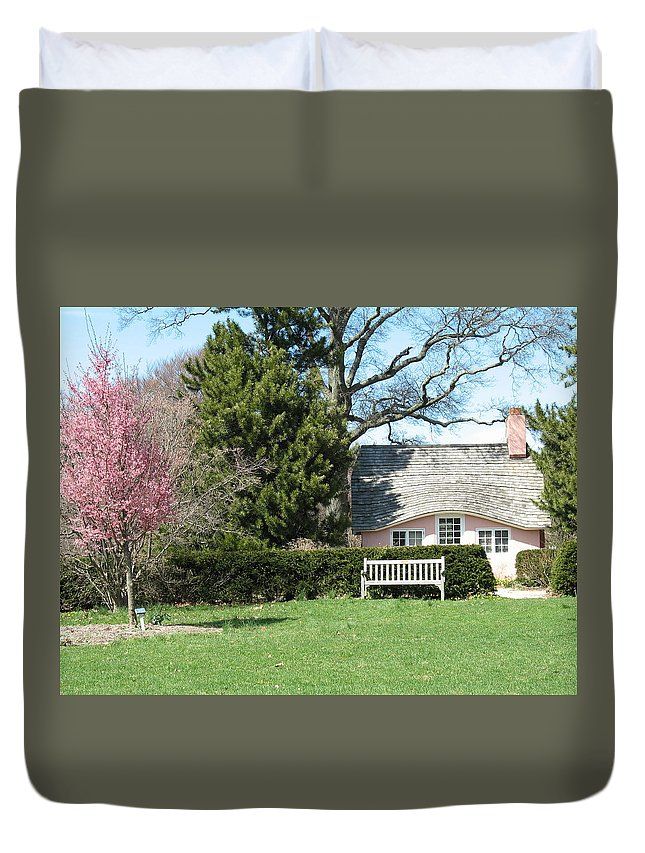 House Duvet Cover featuring the photograph Little Pink House by Jean Signore