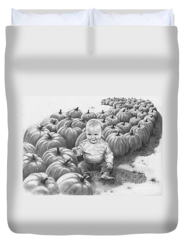 Charity Duvet Cover featuring the drawing Little Pumpkin by Murphy Elliott