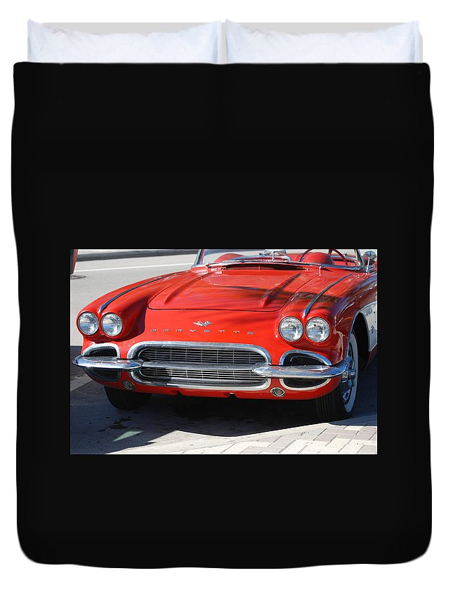 Corvette Duvet Cover featuring the photograph Little Red Corvette by Rob Hans