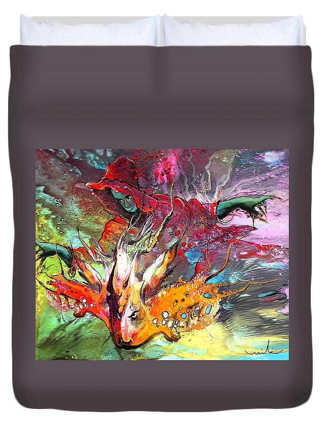 Miki Duvet Cover featuring the painting Little Red Dragonmaker by Miki De Goodaboom
