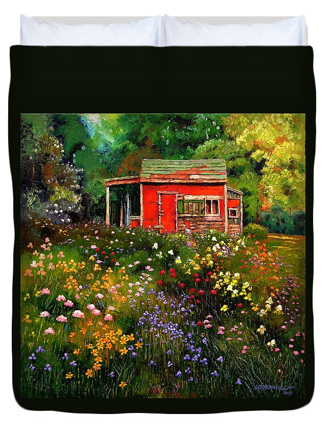 Flower Garden Duvet Cover featuring the painting Little Red Flower Shed by John Lautermilch