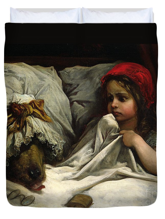Wolf; Disguise; Child; Girl; Fairy Tale; Story; Glasses; Bed; Nightcap; Fear Duvet Cover featuring the painting Little Red Riding Hood by Gustave Dore