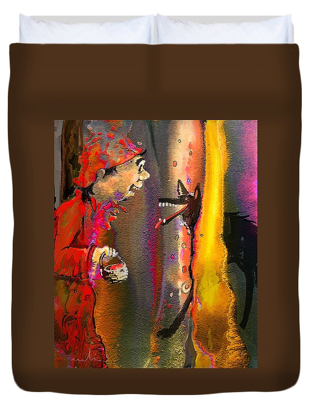 Fairy Tales Art Duvet Cover featuring the painting Little Red Riding Hood by Miki De Goodaboom