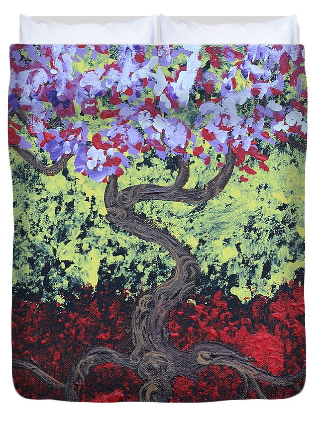 Impressionism Duvet Cover featuring the painting Little Red Tree 2 by Stefan Duncan