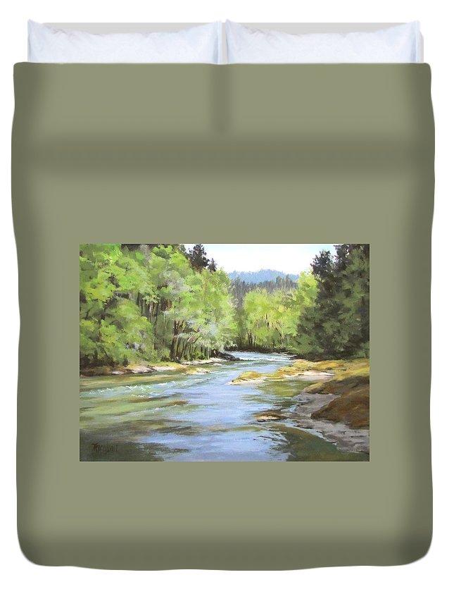Original Duvet Cover featuring the painting Little River Morning by Karen Ilari