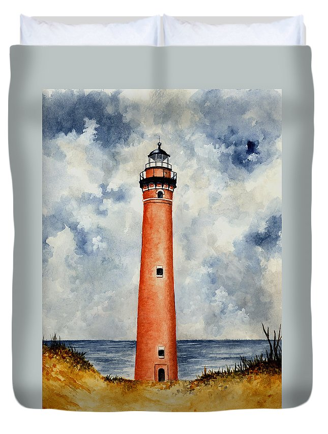 Lighthouse Duvet Cover featuring the painting Little Sable Point Lighthouse by Michael Vigliotti