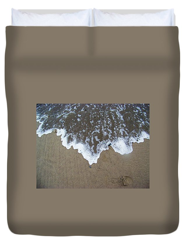 Ocean Tide Duvet Cover featuring the photograph 'little Sails' In The Surf by Julie Rauscher