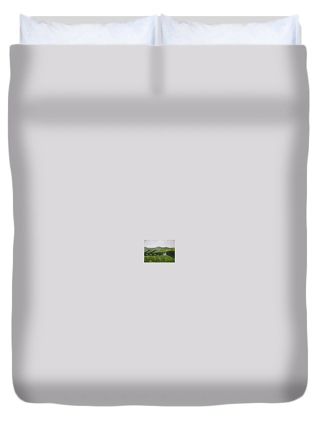 Landscape Duvet Cover featuring the painting Little Schoolhouse On The Hill by Toni Berry