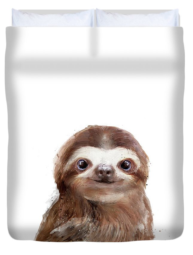 Sloth Duvet Cover featuring the painting Little Sloth by Amy Hamilton