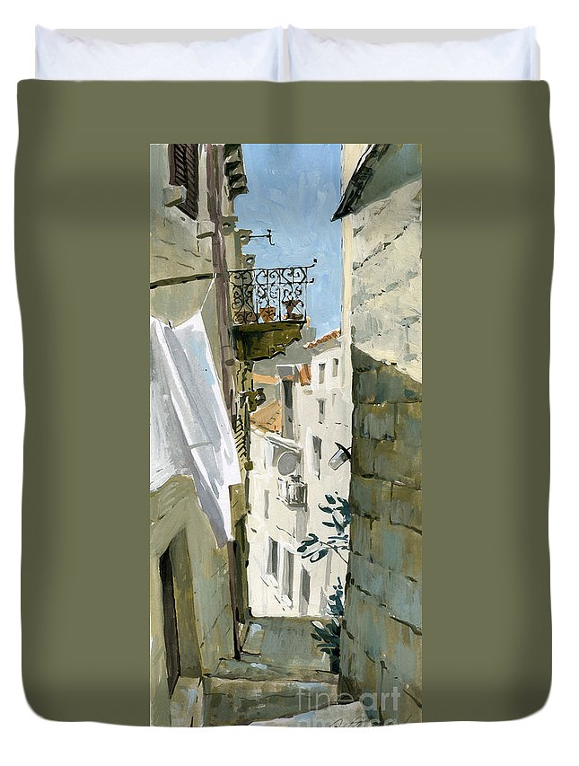 Croatia Duvet Cover featuring the painting Little Street In Dubrovnik by Sakurov Igor
