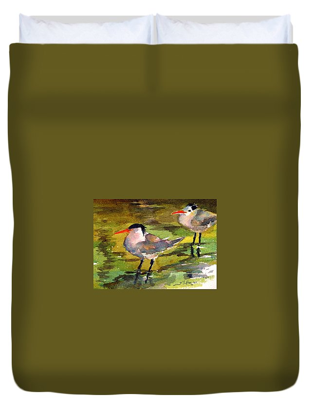 Seabirds Duvet Cover featuring the painting Little Terns by Julianne Felton