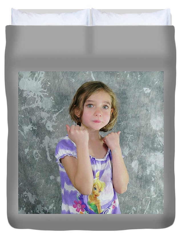 Kids Duvet Cover featuring the photograph Little Tomboy by Jeff Swan