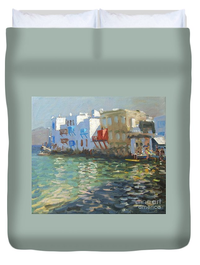 Greek Landscape Duvet Cover featuring the painting Little Venice Mykonos by Andrew Macara