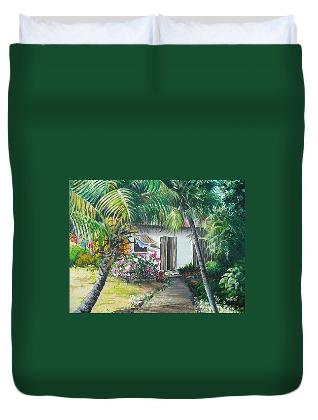 Caribbean Painting Typical Country House In Trinidad And The Islands With Coconut Tree Tropical Painting Duvet Cover featuring the painting Little West Indian House 2...sold by Karin Dawn Kelshall- Best